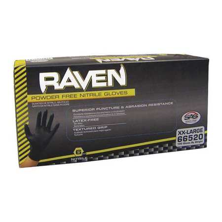 BOX(100) NITRILE GLOVE LARGE 6MIL BLACK, POWDER FREE SAS
