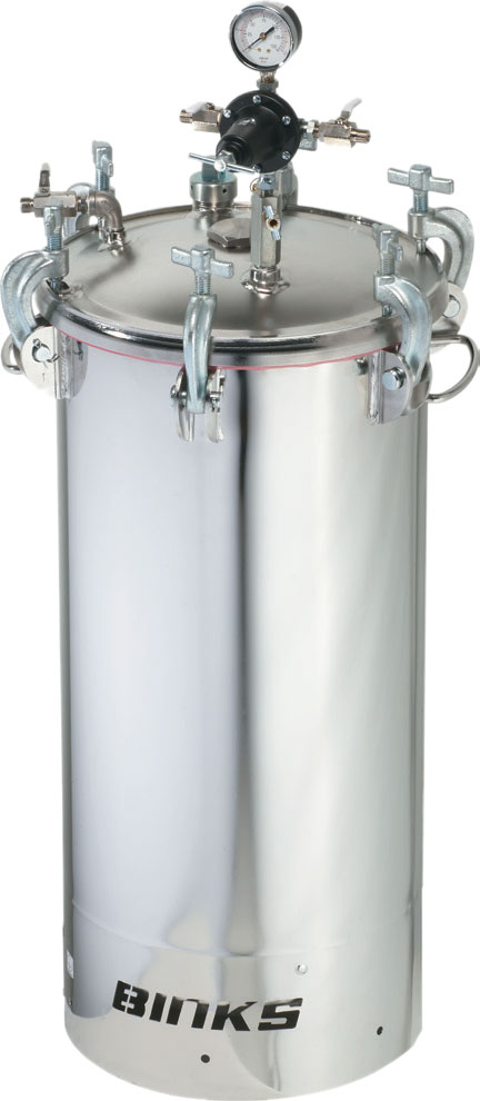 BINKS 10 GALLON PRESSURE TANK STAINLESS STEEL NON-AGITATED,