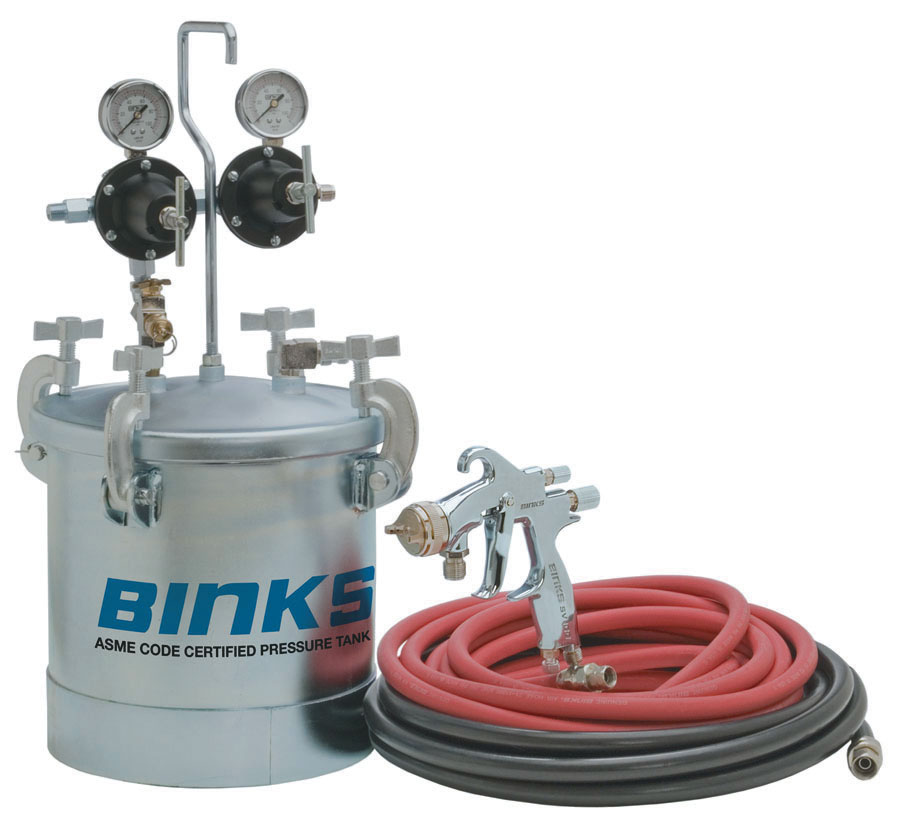 BINKS SV100P HVLP 2-GAL PRESSURE FEED OUTFIT